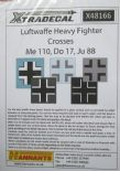 X48166  1/48 Luftwaffe Heavy Fighter Crosses for Ju 88; Do 17, Do 215 and Me 110